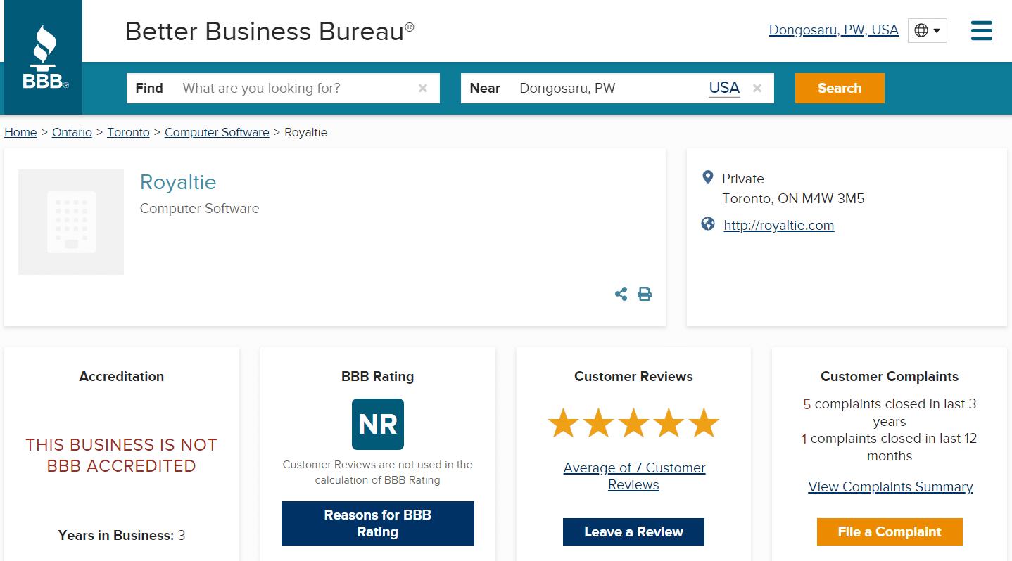 royaltie gem bbb rating