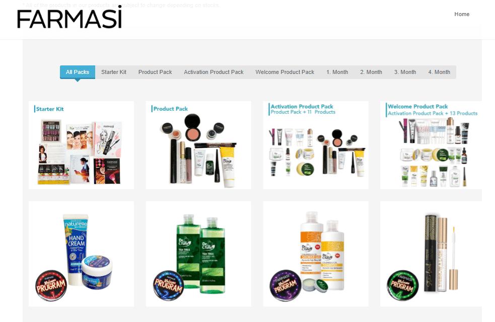 Farmasi cosmetic products.