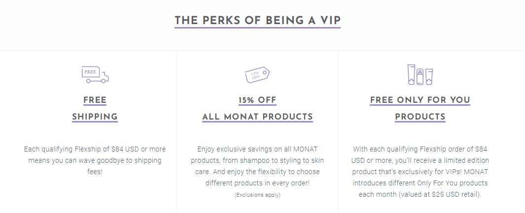 Monat VIP member information.