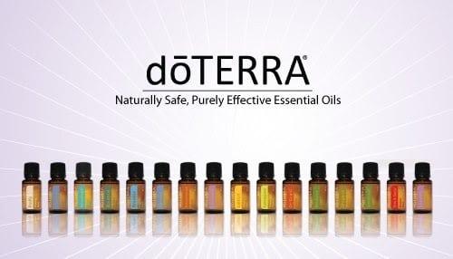 Bottles of doTerras essential oils.
