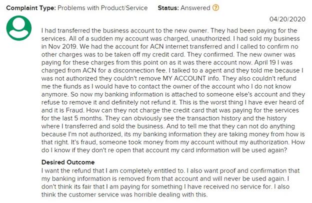 ACN BBB complaints.