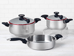 Innove silver pots and pans.