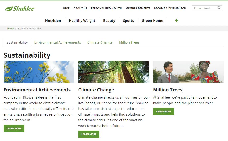 Shaklee sustainablility