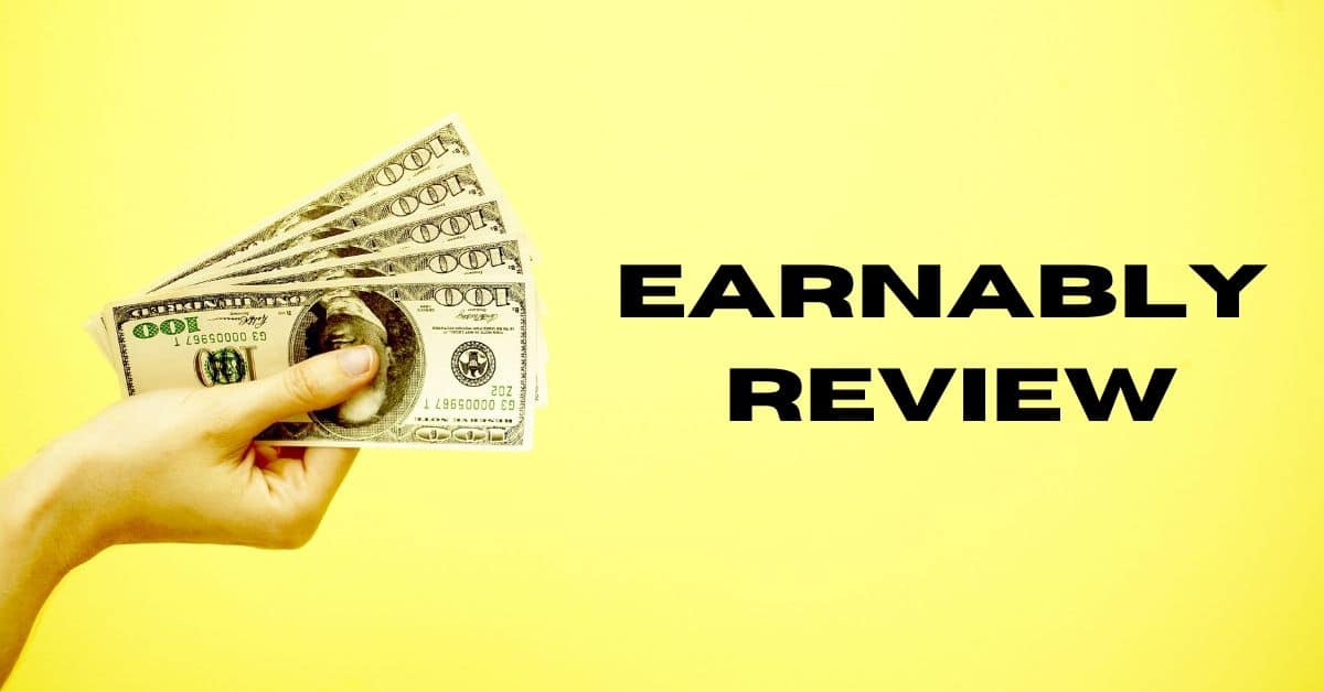 Hand holding $100 bills on a yellow background and the words earnably review.